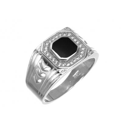 Strieborný prsteň zirkónový pánsky 1481733fe89