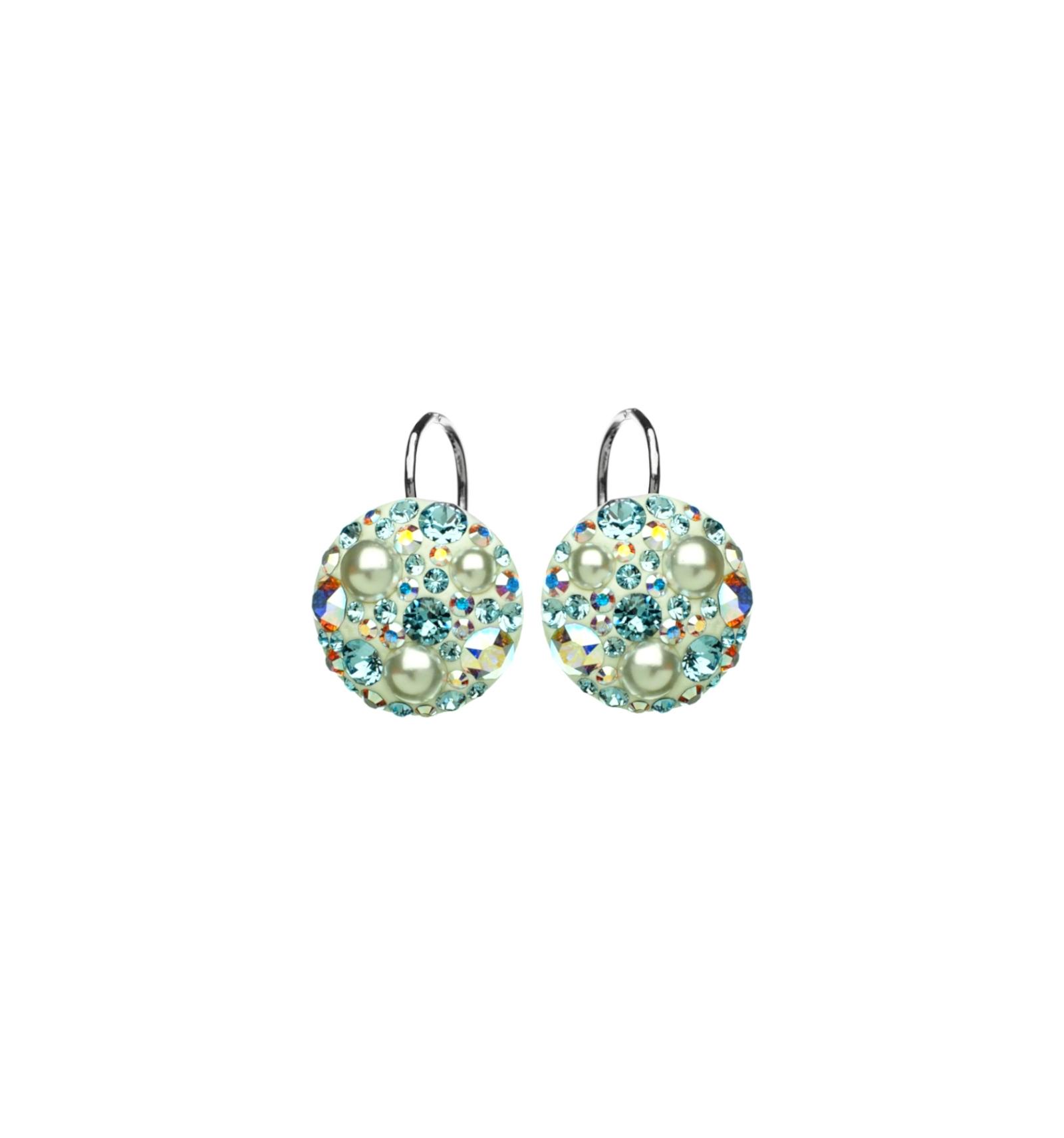647b20672 Strieborné náušnice so Swarovski elements aqua s perlou