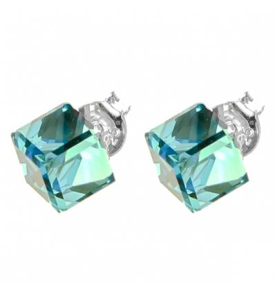 Strieborné náušnice so Swarovski elements aquamarine kocka 6 35e57ca2820