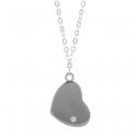 Strieborný náhrdelník zirkónový srdce 43 až 46cm Rhodiovaný