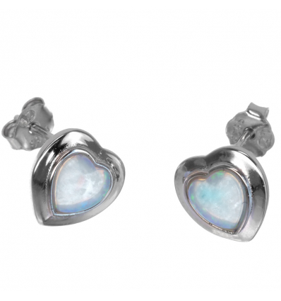 aaebec2d8 Strieborné náušnice srdce s bielym opálom