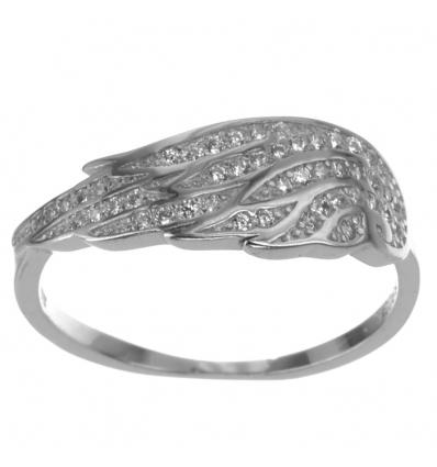 Strieborný prsteň anjelské krídlo so zirkónmi