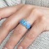 Strieborný prsteň s modrými opálmi