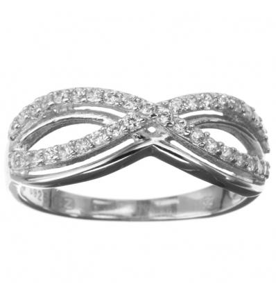 Strieborný prsteň nekonečno so zirkónmi