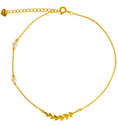 Strieborná pozlátená retiazka na nohu s pierkom a perlami 22 až 26cm