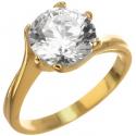 Strieborný pozlátený prsteň so zirkónom
