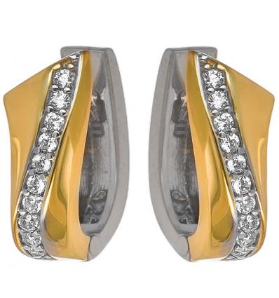 Strieborné dvojfarebné náušnice so zirkónmi