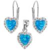 Strieborný set srdiečka s krištáľmi Swarovski blue opal