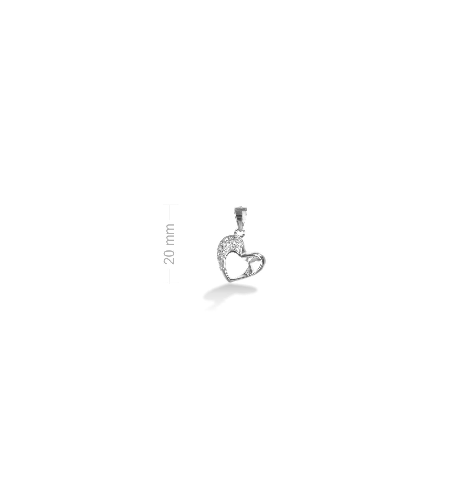 3fe02e630 Strieborný prívesok srdiečko so zirkónmi