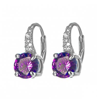 Strieborné náušnice s fialovým zirkónom